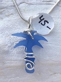 Cornflower Blue Seaglass carved Palm Tree Pendant  #4113