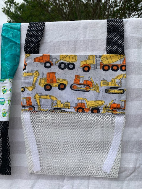 Small (Kid Size) Beach Combing Bags: Construction Trucks
