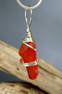WP Red-Orange Seaglass Pendant #3129