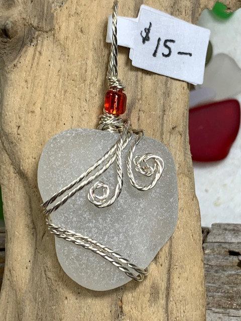White seaglass Pendant# 4424