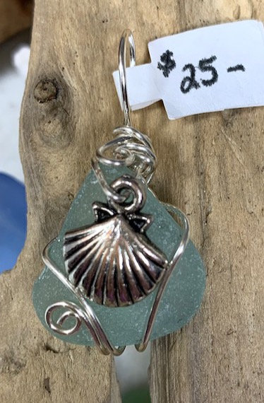 Pale Teal Seaglass w/ Shell Pendant# 4401