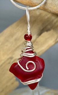 Deep Red Seaglass Pendant #4257