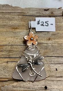Pale Lavender Seaglass w/ Dragonfly & Flower Pendant #4396