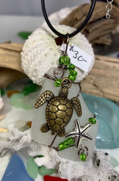White Seaglass w/ seaturtle & starfish Pendant #4415