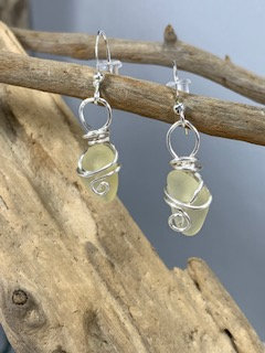 Yellow Seaglass earrings  E209