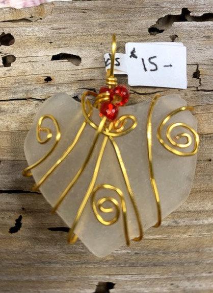 White Seaglass Heart #4307