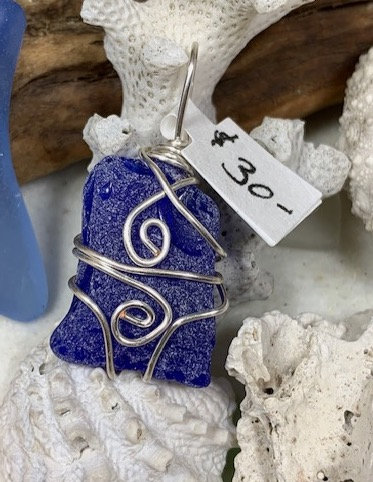 Dark Cobalt Blue Seaglass Pendant# 4330