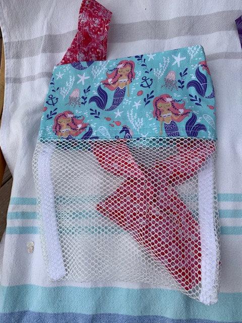 WPSmall (Kid Size) Beach Combing Bags: Purple Mermaids w/ Seahorses & Anchors
