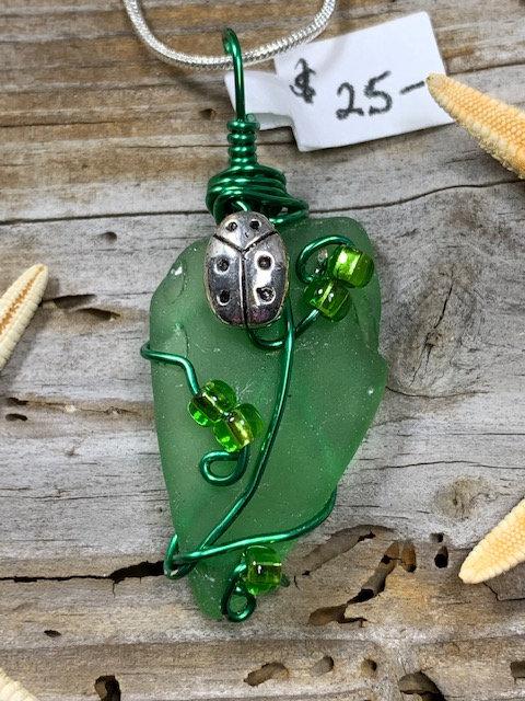 Green Seaglass Ladybug Pendant #4411