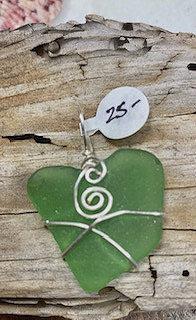 Green Seaglass Heart Pendant #4244