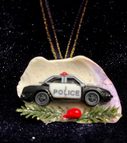 Seashell Ornament: First Responder / Police Car