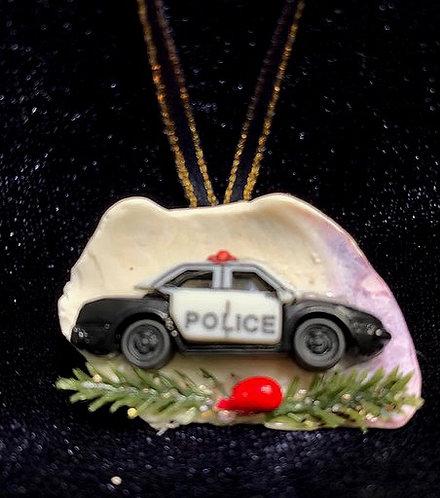 WP Seashell Ornament: First Responder / Police Car