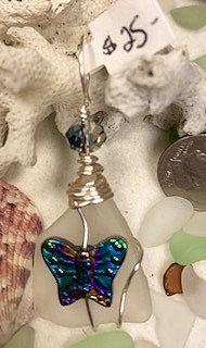 WP White Seaglass w/Mutilcolor Butterfly Pendant