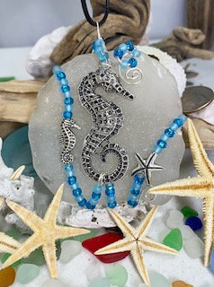 WP White Seaglass w/ Lg Seahorse Pendant