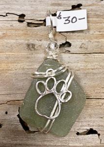 Olive Green Seaglass w/ Dog Paw Pendant #4208