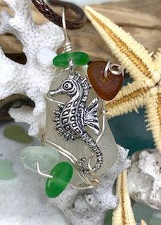 White Seaglass w/ Seahorse & mini shards Pendant #2922