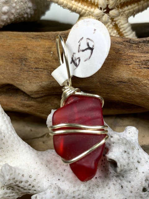 Red Seaglass Pendant #3130