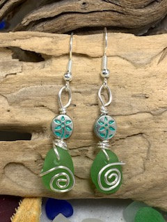 Green Seaglass Earrings w/ Flower E207