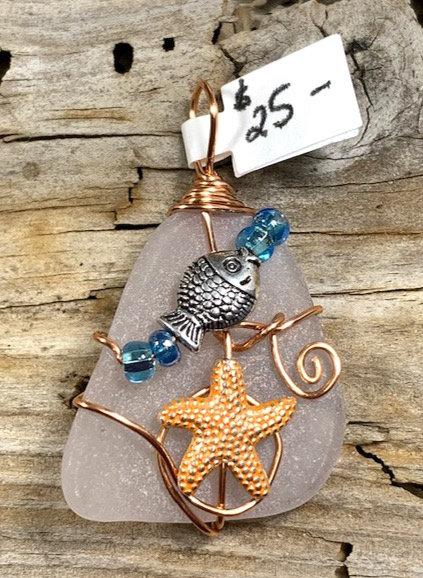 White seaglass w/ fish & starfish pendant #4366