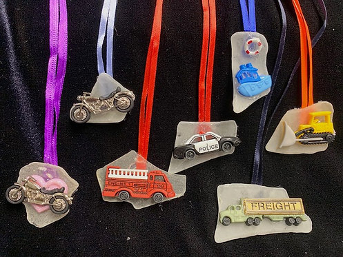 Kid Seaglass and Seashell Necklaces: First Responders & Wheels