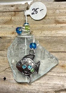 WP Pale Blue Letter Seaglass w/ Fish Pendant