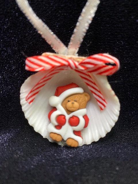 Seashell Ornament: Santa Bear