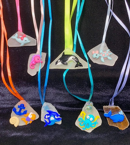 Kids Seaglass and Seashell Necklaces: Sealife