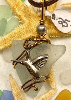 WP Pale Cola-blue w/ Hummingbird Pendant