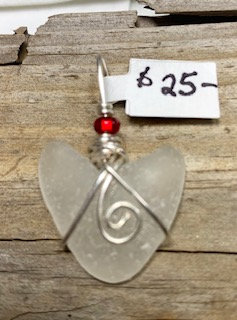 WP White Seaglass Heart Pendant w/ Red accent