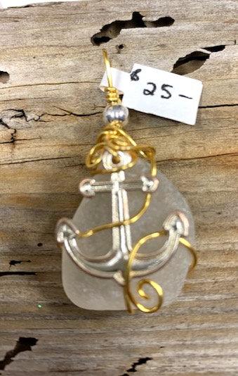 White seaglass anchor pendant #4423