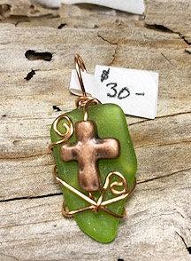 Lime Green Seaglass w/Copper Cross Pendant #4400