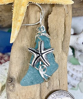 Bright Turqoise Blue Seaglass w/ Starfish Pendant  #4260