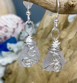 Lavendar Seaglass Earrings E205