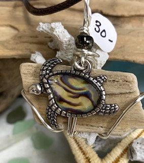 Petrified Wood w/ Abalone Sea Turtle Pendant #4207