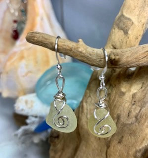 Yellow Seaglass Earrings E203