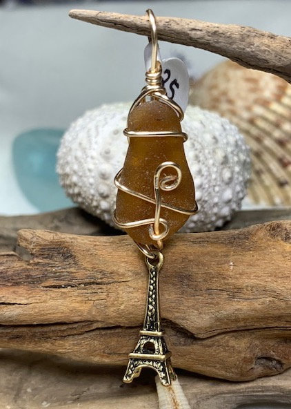 WP Brown Seaglass & Eiffel Tower Pendant 4224