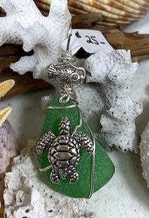 green seaglass seaturtle & fish pendant #4335