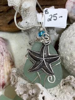 cola seaglass starfish pendant  #4373