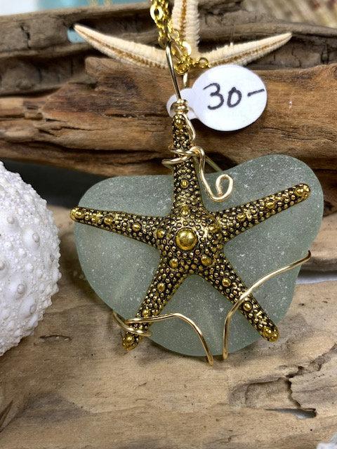 WP Large Seafoam Seaglass Starfish Pendant  4081