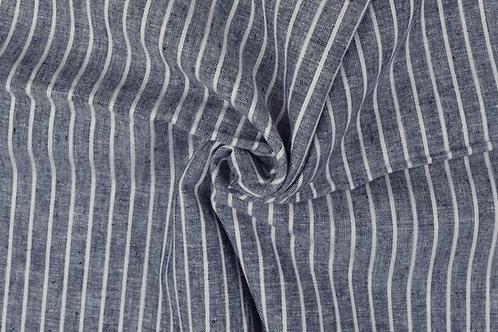 Streifen - Leinen-Baumwoll-Gemisch, blau
