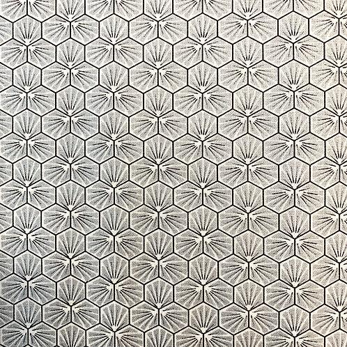 beschichtete BW Hexagone, hellgrau mit Glitzer
