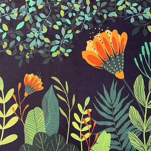 Blaubeerstern Blumenbordüre, dunkelblau