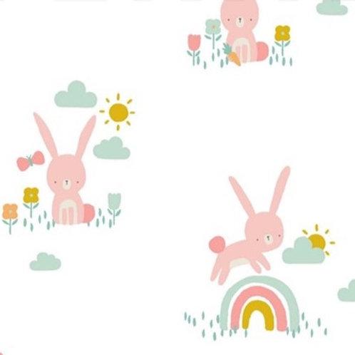 Kleine Hasen & Regenbögen, weiß