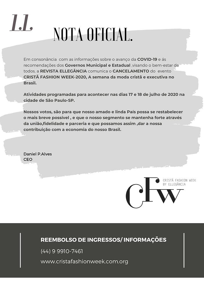 nota oficial CANCELAMENTO DO CRISTÃ FASH