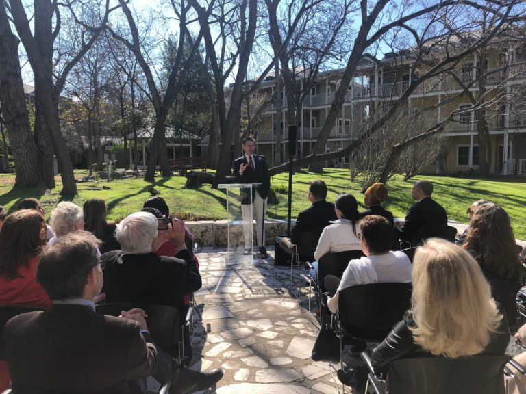 St. David's Foundation President & CEO Edward Burger addresses the crowd at Lyons Gardens for our Intergenerational announcement.