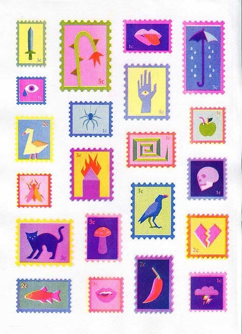 Bad omen stamp risoprint