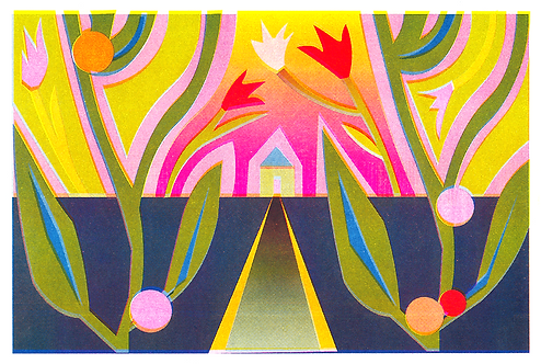 riso landscape with growing plants surrounding a forest home