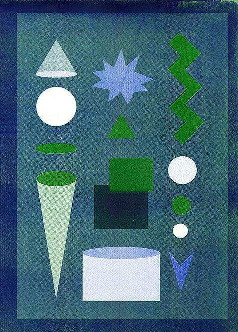 Blauwe abstracte risoprint