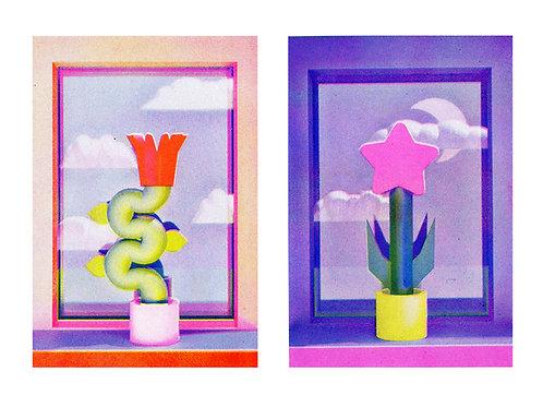 Bloemen voor het raam