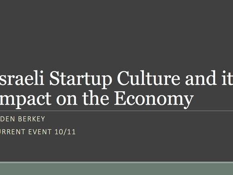 Current Event: Israel's Startup Culture & Impact on the Economy